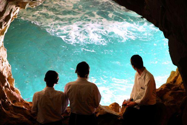 Natural rock portal of the Mediterranean Sea at Rosh HaNikra Grotto.