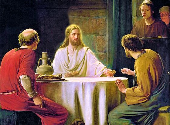 Detail: Risen Christ at supper with friends in Emmaus. By Carl Bloch.