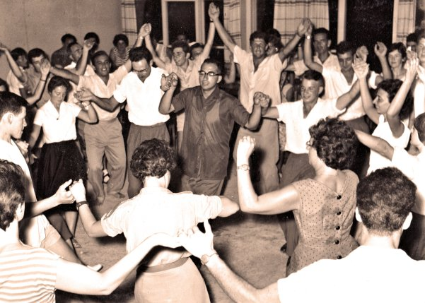 Celebration hora dance at Nir Am Kibbutz, circa 1960. Photo by Andreas Ramer.