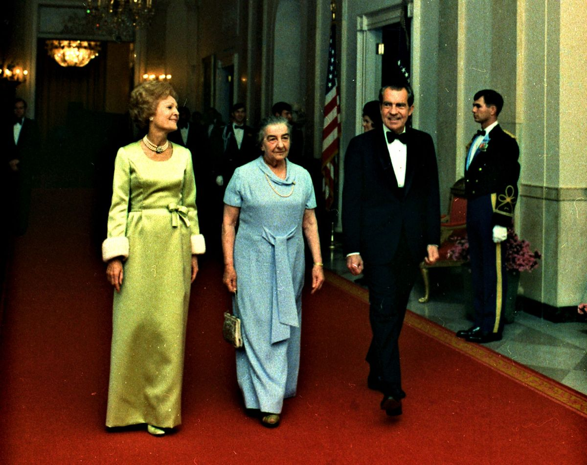 The President and Mrs. Nixon, with Israeli Prime Minister Golda Meir in evening attire, March 1, 1973.