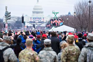 The 2017 Inauguration Ceremony in front of the U.S. Capitol with the Florida National Guard in the foreground.
