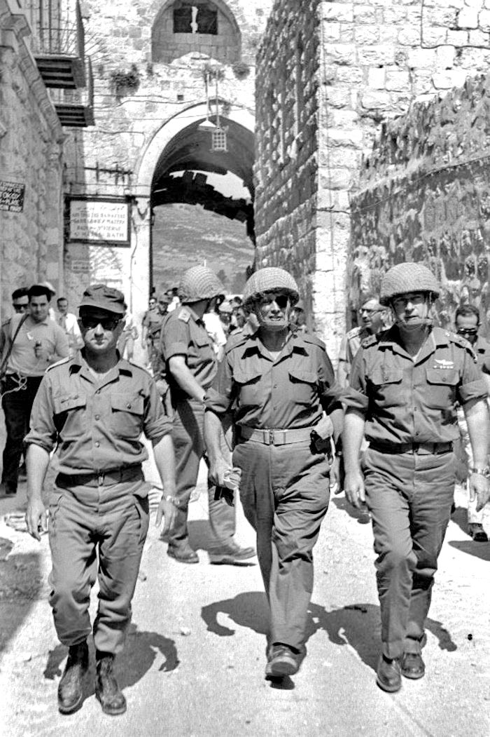 Chief of Staff Lt. Gen. Yitzhak Rabin in the entrance to the old city of Jerusalem during the Six-Day War, with Moshe Dayan and Uzi Narkiss.