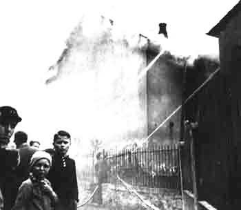 1Burning synagogue on Kristallnacht in Nazi-Germany, November 10, 1938.