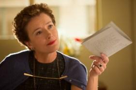 """SAVING MR. BANKS"" P.L. Travers (Emma Thompson) holds out a script in Disney's ""Saving Mr. Banks"". Ph: François Duhamel ©Disney Enterprises, Inc.  All Rights Reserved."
