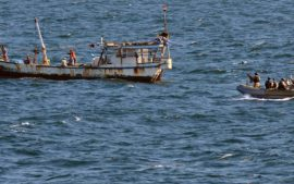 Today's real pirates of the Caribbean attacking a rusty fishing boat.