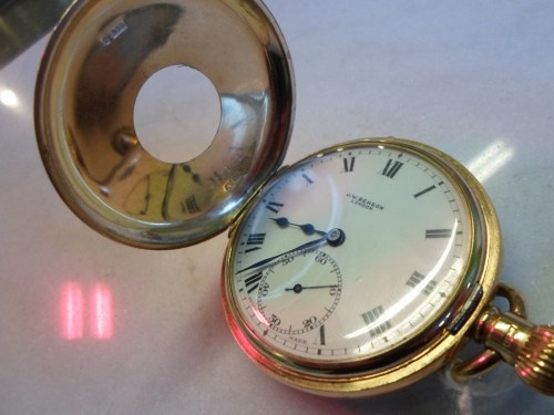 Lot 256: Benson Half Hunter Gold Pocket Watch