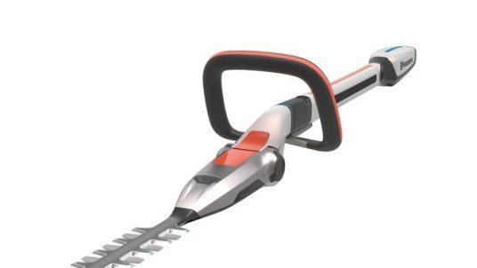 Design concept Husqvarna Ramus - detail image of handle and tiltable head on hedge trimmer