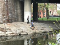 Collecting trash under Bowker Overpass