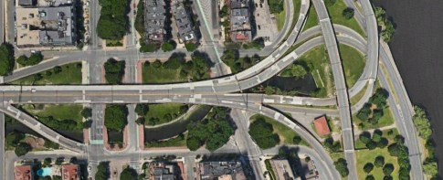 Google Earth View of the Bowker Overpass and Charlesgate 2014
