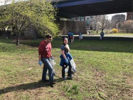 Picking up trash in the Charlesgate area