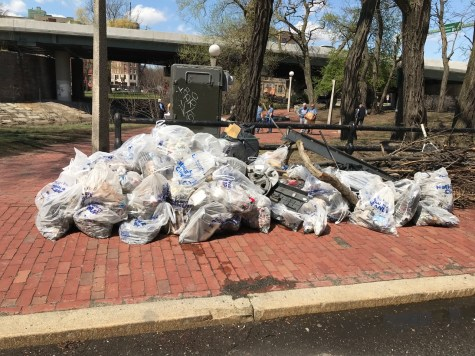 Trash bags waiting for DCR pickup