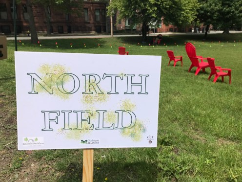 Sign and Chairs in the North Field