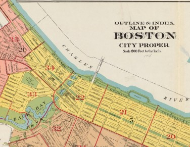"Detail. G.W. Bromley & Co.. ""Outline & index map of Boston city proper."" Map. 1938. Image courtesy of the Norman B. Leventhal Map & Education Center at the Boston Public Library. For the full map, please see https://collections.leventhalmap.org/search/commonwealth:1257c4435"