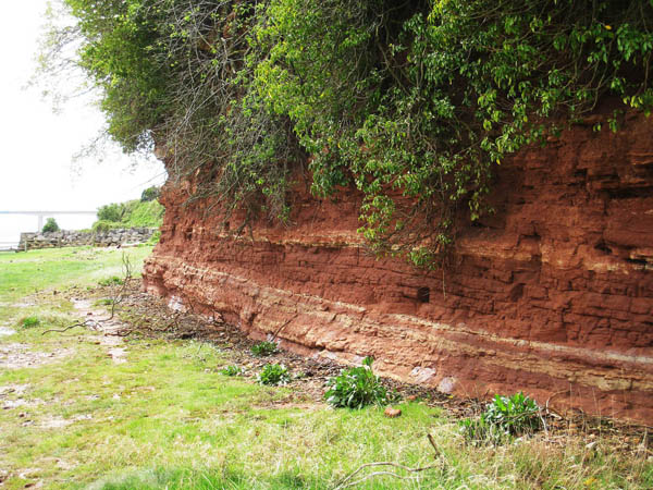 Red Sandstone cliff near Black Rock on the wales Coast Path. Photograph by Charles Hawes. Walking in Wales.