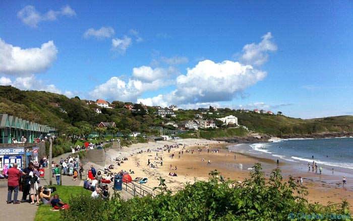 Langland Bay on the wales Coast Path, photographed by Charles Hawes. Walking in Wales.