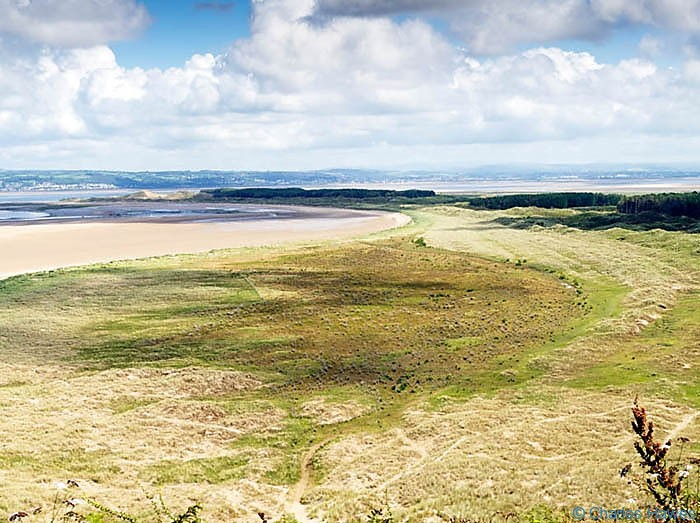 View over Whiteford Nature Reserve taken from Hills Tor on The Wales Coast path between Rhossili and Llanrhidian, photographed by Charles Hawes. Walking in Wales