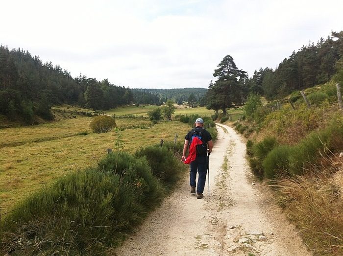 Bob walking ahead of me between Les Faux and Aumont Aubrac on The way of St James, France, Photographed by Charles Hawes, Route St Jacques, GR65.