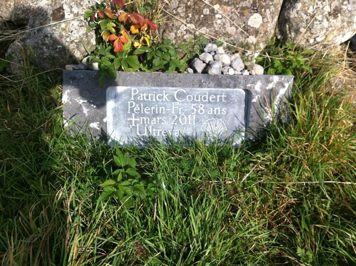 Memorial to Patrick Coudert Pelerin near Nasbinals on The Way of St James, photographed by Charles Hawes. Route St Jacques, GR65