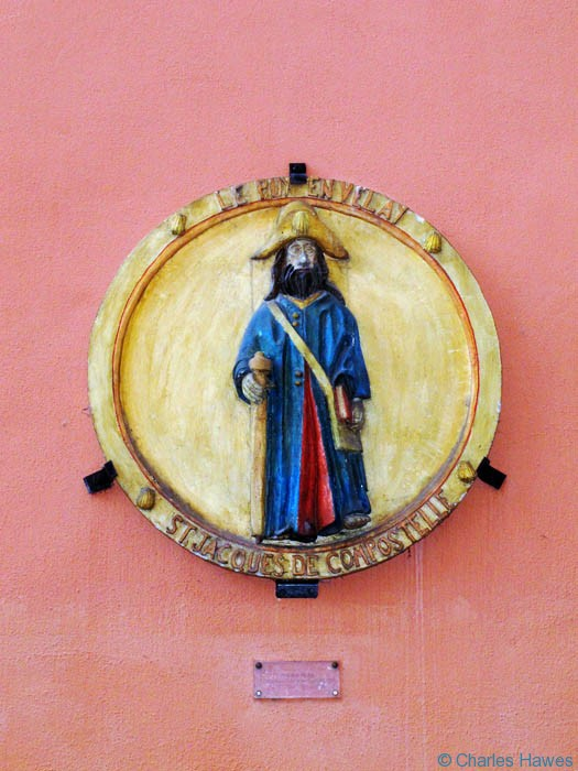 Plaque of St James on wall in Le Puy at the start of The way of St James, France, Photographed by Charles Hawes