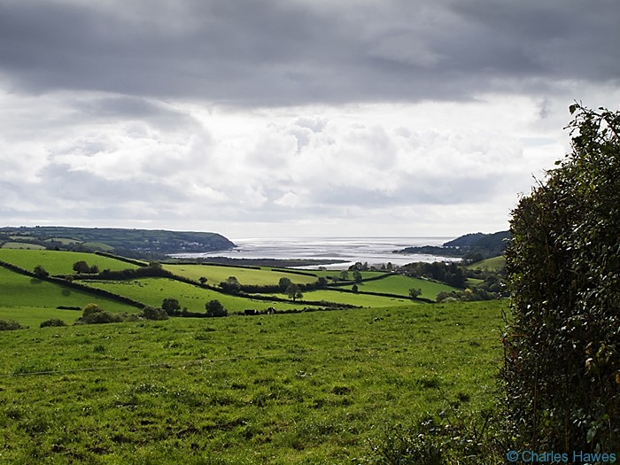 View over Towy river estuary taken from The Wales Coast Path between Carmarthen and St Clears and photographed by Charles Hawes. Walking in Wales.