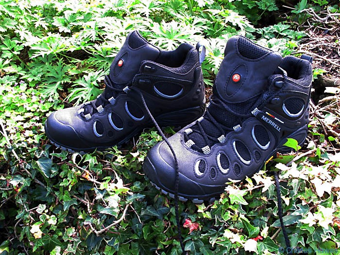 Merrell Chameleon Mid Evo synthetic walking boot, photographed by Charles Hawes