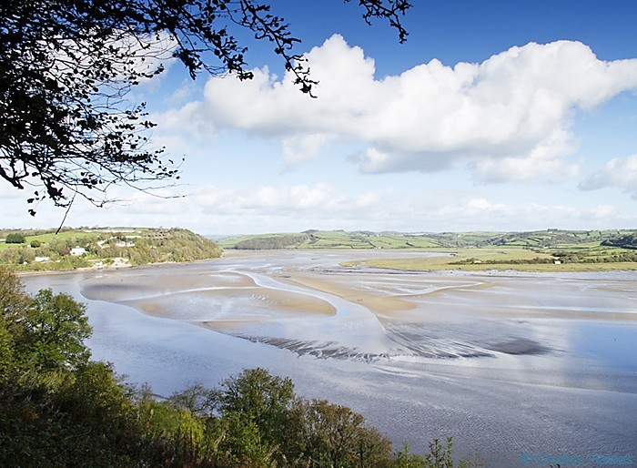 The Taff estuaury near laugharne photographed from the Wales Coast Path between St Clears and Amroth by Charles Hawes. Walking in Wales.