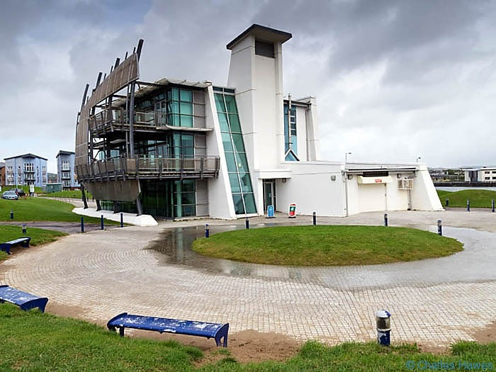 Discovery Centre in Llanelli photographed on The Wales Coast path between Llanelli and Kidwelly by Charles Hawes. Walking in Wales.