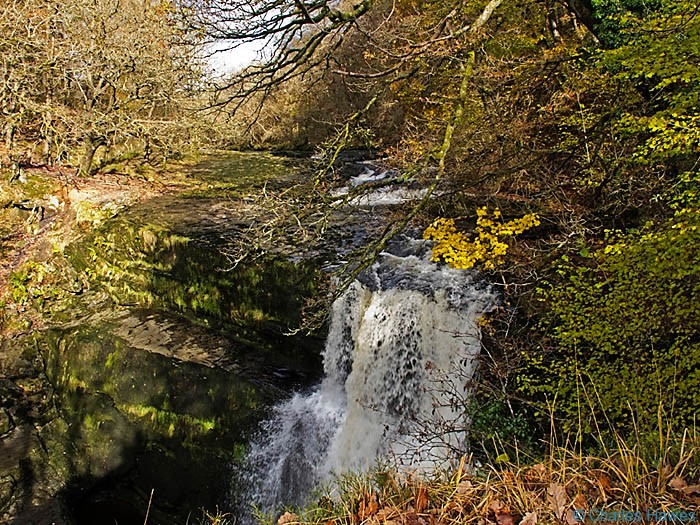 Sgwd Clun-gwyn waterfall Powys, Wales. November. Photograph by Charles hawes. Walking in Wales.