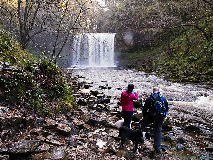 Sgwd ye Eira waterfall in Powys, Wales, photographed by Charles hawes. Walking in Wales.