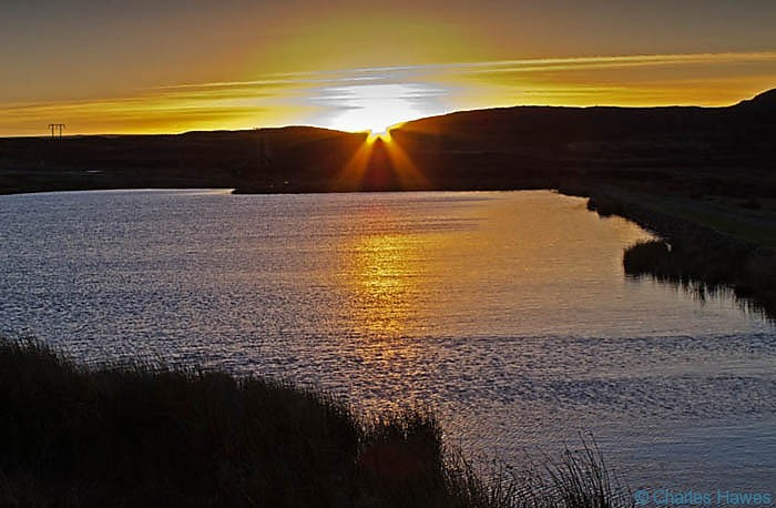 Sunset over Keepers Pond, near Blaenavon, photographed by Charles Hawes. Walking in Wales.