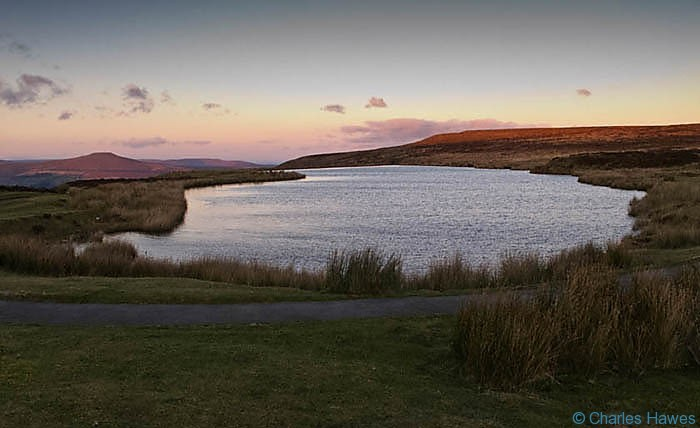 Keepers Pond, near Blaenavon just after sunset, photographed by Charles Hawes. Walking in Wales.