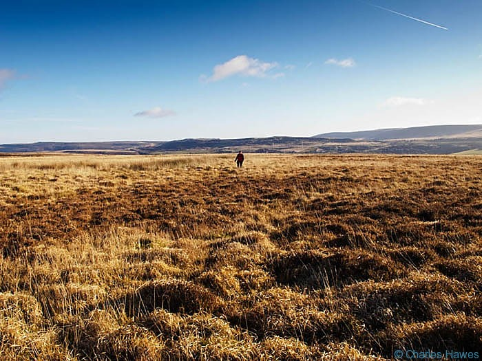 Crossing the moor on Mynydd Llangatwg, Powys, photographed by Charles Hawes