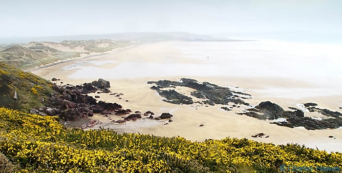 View over Freshwater West, Pembrokeshire, taken from the Wales Coast Path from above Gravel Bay. Photograph by Charles Hawes