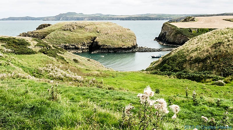 View over Aber Castle inlet from near Carreg Sampson, photographed by Charles Hawes