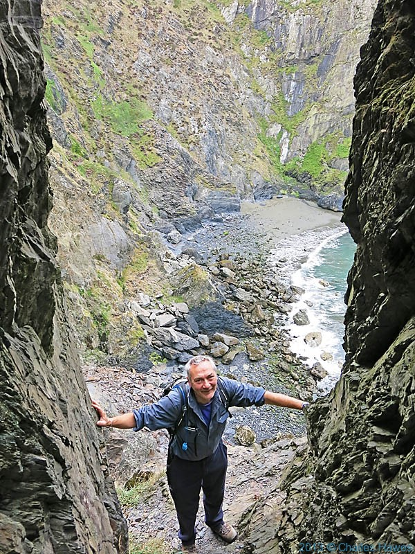 Cleft in the cliff face at Pwll Deri, Pembrokeshire, photographed by Charles Hawes