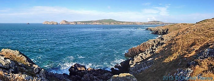 Ramsey Sound and Ramsey Island, Pembrokeshire, photographed from The Wales Coast Path by Charles Hawes