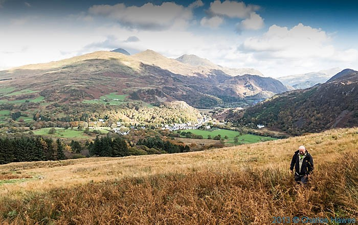 View to Beddgelert, Snowdonia, from the slopes of Moel Hebog, photographed by Charles Hawes