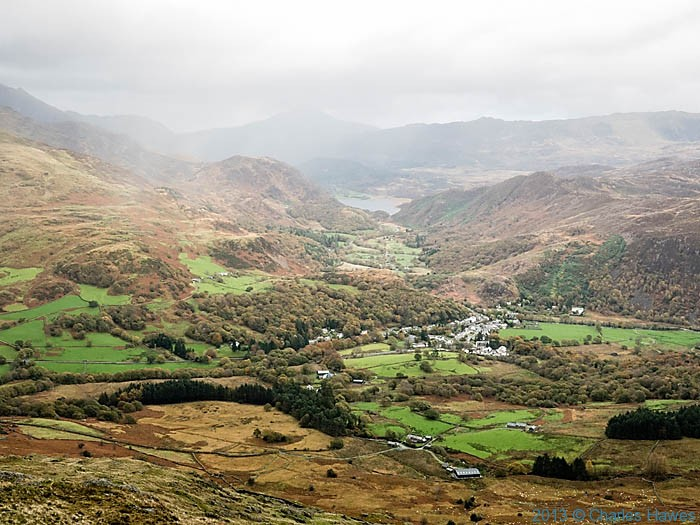 View  to Beddgelert and Llyn Dinas from the slopes of Moel Hebog, photographed by Charles Hawes