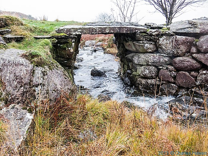 Stone bridge over stream above Nantmor, Snowdonia, photographed by Charles Hawes