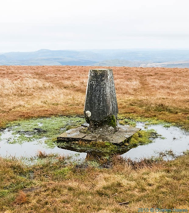Trig Point of Fan Gyhirych photographed in the Brecon Beacons National Park by Charles Hawes