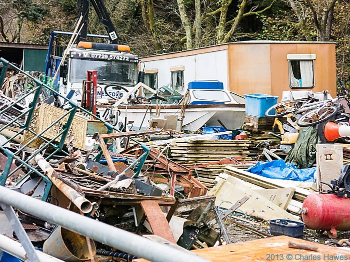 Junk yard by the Wales Coast path near Pennal, photographed by Charles Hawes