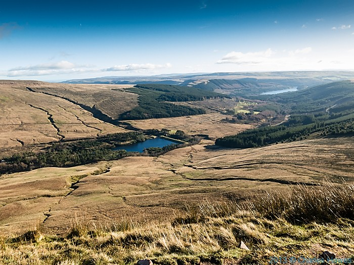 View of the Upper Neuadd reservoir from path near Corn Du, Brecon Beacons National Park, photographed by Charles Hawes