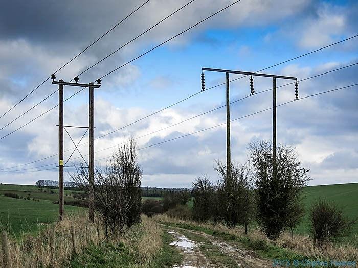Electricity pylons near Grovely woods, Wiltshire, photographed by Charles Hawes