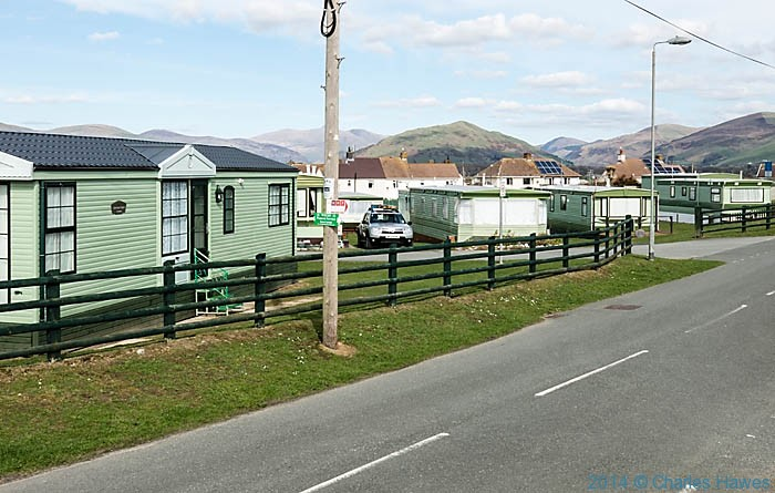 Caravan park at Tywyn, photographed from The Wales Coast path by Charles Hawes