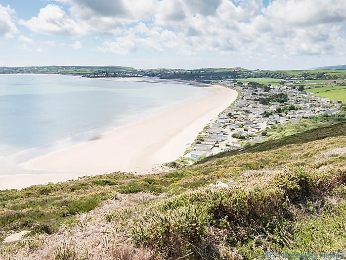View over static caravan site near Abersoch, photographed from The Wales Coast Path by Charles Hawes