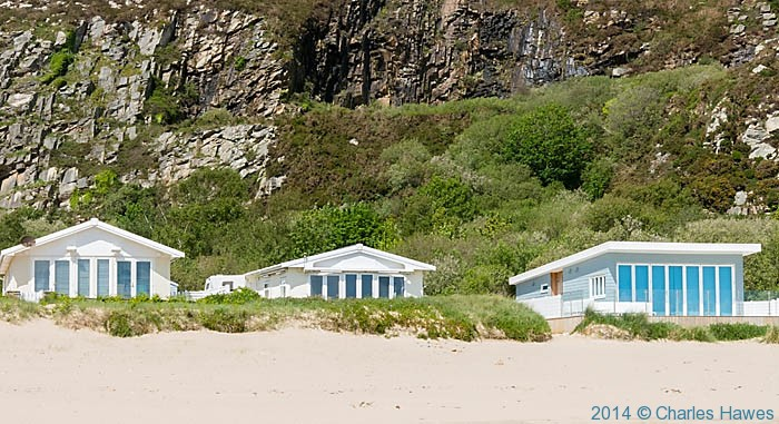 Static holiday homes on the beach at Abersoch, photographed from The Wales Coast Path by Charles Hawes