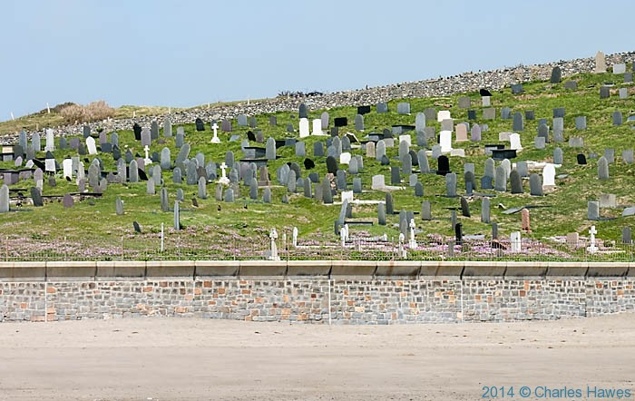 Graveyard of St Hywyn's church in Aberdaron, photographed by Charles Hawes