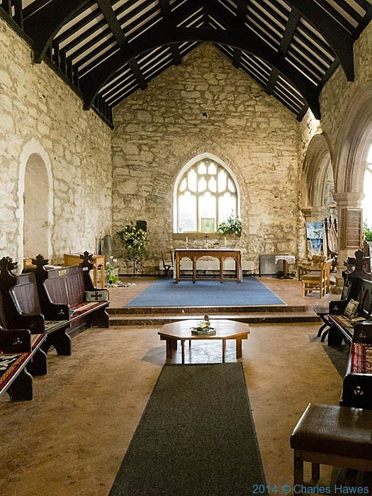 Interior of St Hyweyn church, Aberdaron, photographed by Charles Hawes