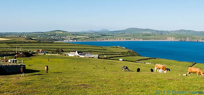 View from near Pen y Cil to Aberdaron and hills of the Lleyn peninsula, photographed by Charles Hawes