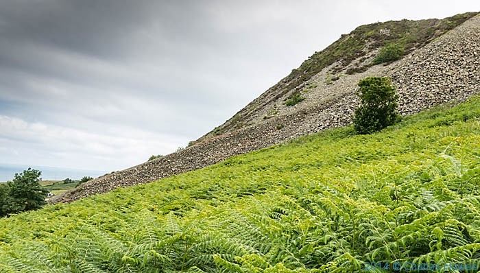 Disused quarry below Gwylwyr Carreglefain, photographed from The Wales Coast path by Charles Hawes